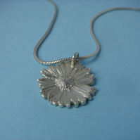 Daisy pendant, fine silver, on a sterling silver snake chain