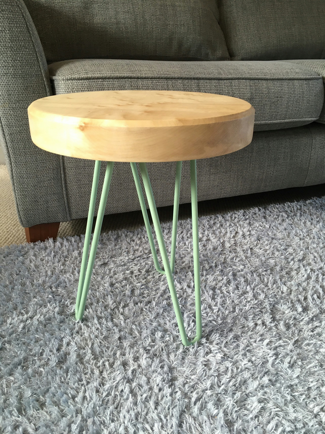 English Sycamore coffee Side table Round wood top with pastel green hairpin legs