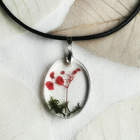 Real flower oval necklace, Red flower on green moss pendant, Resin jewellery