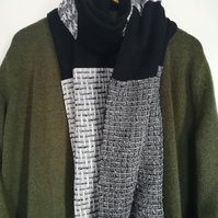 Black & white scarf, Monochrome wrap, Woven striped scarf, Sparkly scarf