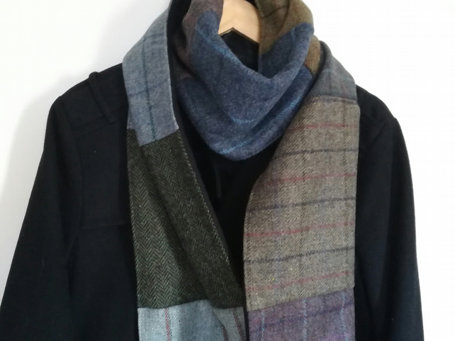 Tweed scarf, Patchwork scarf, Warm blue wrap, Winter scarf