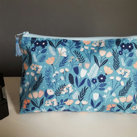 Blue floral make up bag, large cosmetics bag, wash bag, wedge shaped