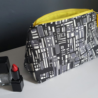 Monochrome & yellow make up bag, mid-century design cosmetics pouch