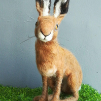 Large needle felted hare, Realistic animal sculpture