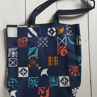 Unique printed linen tote bag, lined linen shopping bag