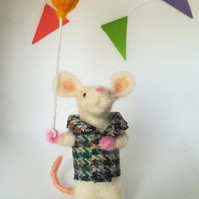 Needle felted white mouse with balloon, Fibre Art collectable doll