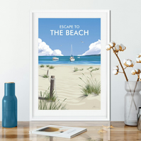 Escape to the Beach art print, Escape to the beach travel poster, travel poster