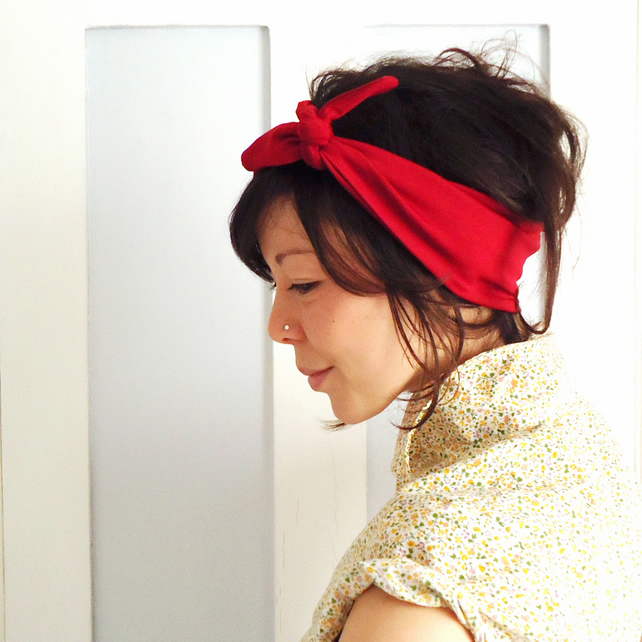 Tie Up Headscarf Red Lycra