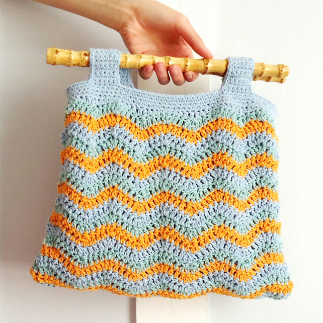 Crochet Bag Bamboo Handles Pattern : Stripe Chevron Crochet Bag with Bamboo Handles - Folksy