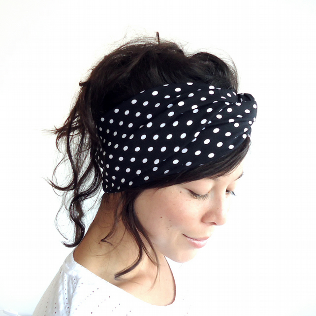 Black White Polka Dot Turban