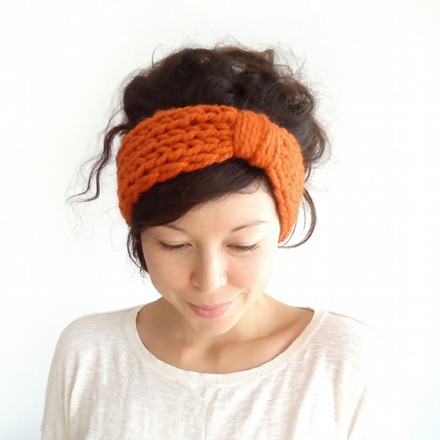 Chunky Knit Turban Headband Pumpkin - Folksy