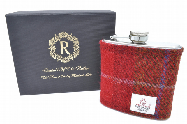 Personalised Harris Tweed Hip Flask Groomsmen Gift HT17 Scottish Luxury Wedding