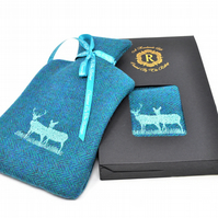 Blue Harris Tweed hot water bottle shaped wheat bag gift to show you care