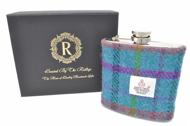 Personalised Harris Tweed Hip Flask Groomsmen Gift HT06 Scottish Luxury Gift Wed