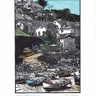 Linocut Print. Coverack Harbour. Handpainted with Watercolours