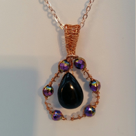 Black Onyx Pendant with White Moonstone and Rainbow Coated Hematite
