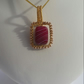 Wire Wrapped Red Striped Agate with Gold Plated Silver Spacer Beads