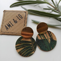 Cork leather drop circle earrings (gold tone)