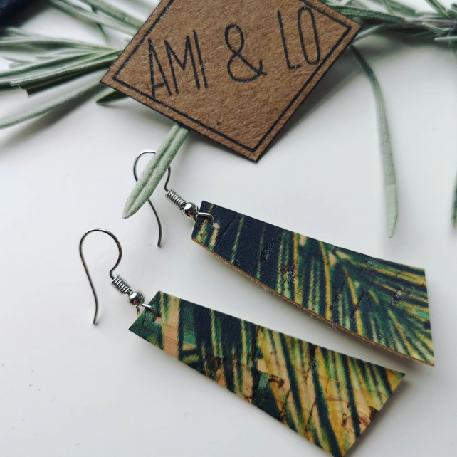 Cork leather bar earrings