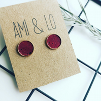 Cork leather large stud earrings, Rose gold