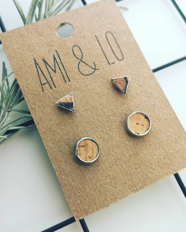 Cork leather stud set