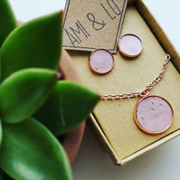 Cork leather jewellery gift set. Pendant necklace and earring set