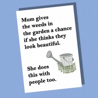 Card for mum, Gardening card, Mother card