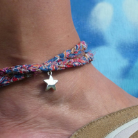 Boho Anklet, Liberty of London Print Double Wrap Ankle Bracelet with Silver Star
