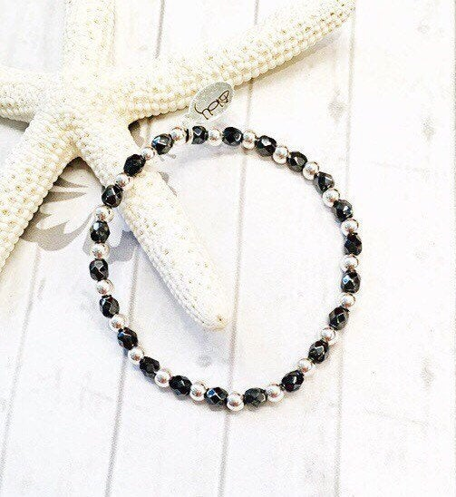 Sterling Silver and Hematite Beaded Bracelet