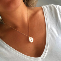 Cowrie Shell Pendant with Gold Satellite Necklace Chain