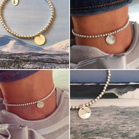 Sterling Silver AnkletAnkle Bracelet, Mountain Charm or Wave Charm