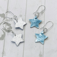 Silver Star Earrings, Leather Star Earrings, Metallic Star Earrings