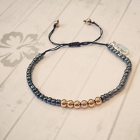 Rose Gold and Navy Beaded Bracelet, Delicate Bracelet