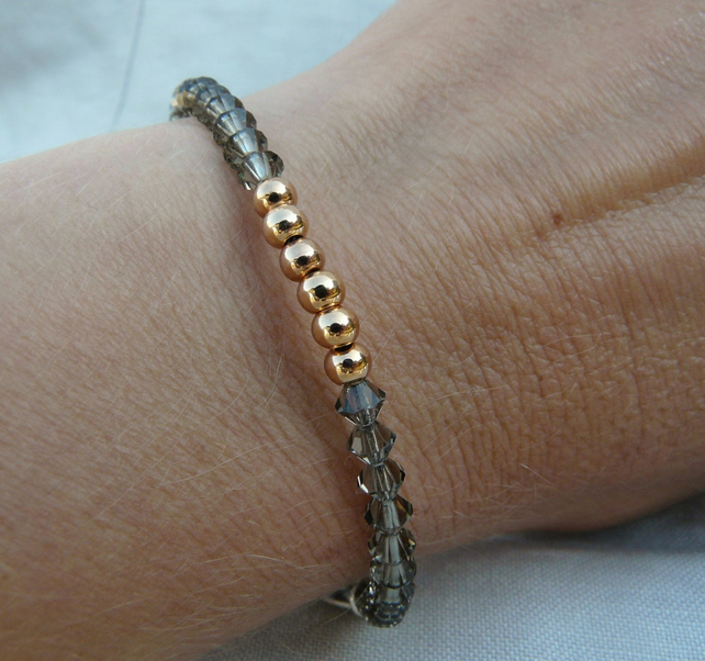 Rose Gold Bracelet, Rose Gold Beads and Gunmetal Bicones