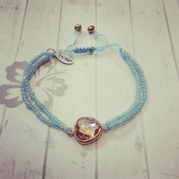 Rose Gold Glass Charm Bracelet with Pale Blue Beads