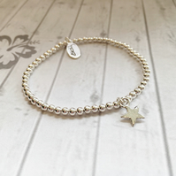 Sterling Silver Bracelet with Small Sterling Silver Star Charm