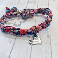 Liberty of London Print Fabric Wrap Bracelet with Heart Charm