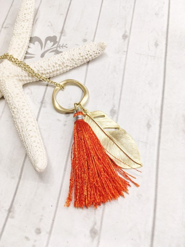 Tassel Necklace, Burnt Orange Silk Tassel and Gold Feather Pendant Necklace