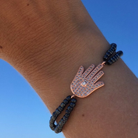 Rose Gold Hamsa Hand Bracelet, Hand of Fatima Charm & Navy Beads
