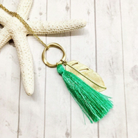 Tassel Necklace, Green Silk Tassel and Gold Feather Pendant Necklace