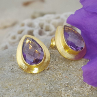 RAIN DROPS AMETHYST STUD GOLD EARRINGS