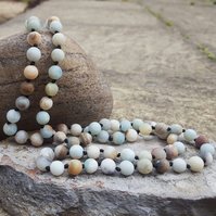 Amazonite Frosted Matte Necklace. Natural Stone Necklace.Chakra Necklace.