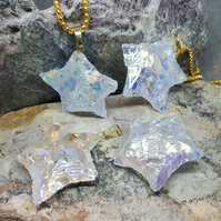 Star Necklace. Raw Natural Angel Aura Star Stone. Quartz Necklace. Reiki. Bespok