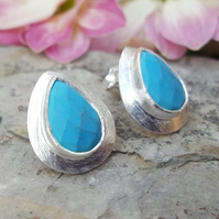 Teardrop Turquoise Silver Studs. Women's Silver Earrings. Studs Gemstone. Gift f