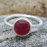 Ring Sterling Silver RUBY. INKACREATIONS. Round Rings. ROSES. Gift for lovers.