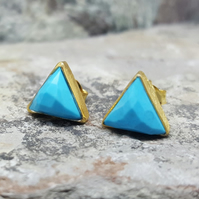 TURQUOISE Gold Stud Earrings. InkaCreations. Rock and Roses .ARROW. Gift for lov