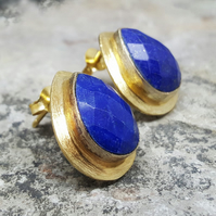 Lapis Lazuli Teardrop Gold Studs Earrings. Women's Gold Earrings. Gemstone
