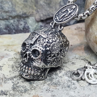 Skull Necklace. Punk Rock. Gift for Him-Unisex Necklace. Anniversary Present.