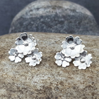Silver Stud Earrings. Flower. Sterling Silver. INKACREATIONS.