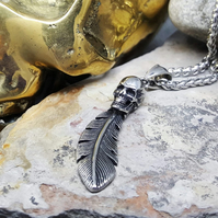 Necklace-Mens Pendant-Women Pendant-Skull-Silver Feather-Steel-INKACREATIONS-
